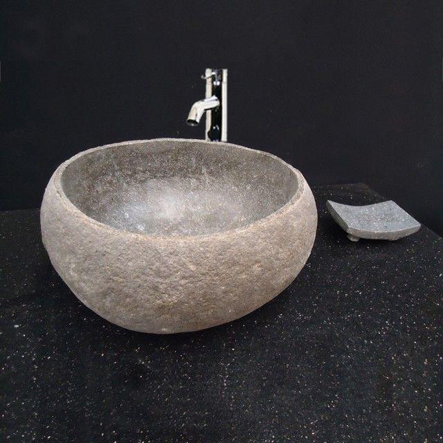 Vasque de salle de bains à poser, lave-main en pierre de rivière 30 cm -  Eden-Roc cdcafd804966