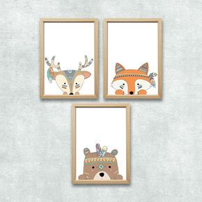 Details zu Wald Tiere Set Kunstdruck A4 Bär Fuchs Reh