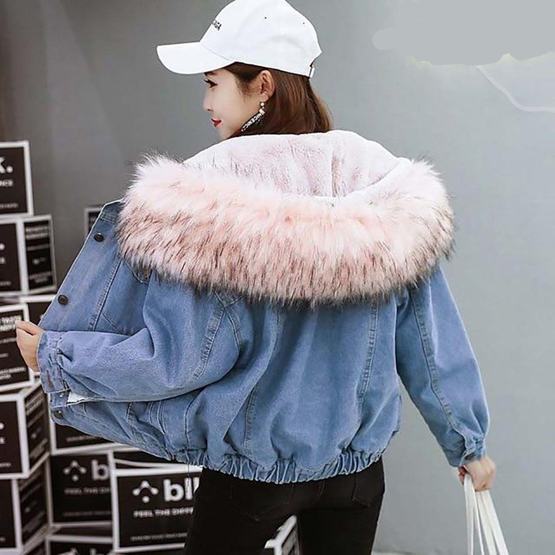 Women S Coat Warm Hooded Jean Denim Thick Basic Windbreaker For Winter Spring Autumn Pink Fur S Denim Jacket With Fur Denim Jacket Women Hooded Denim Jacket [ 1100 x 1100 Pixel ]