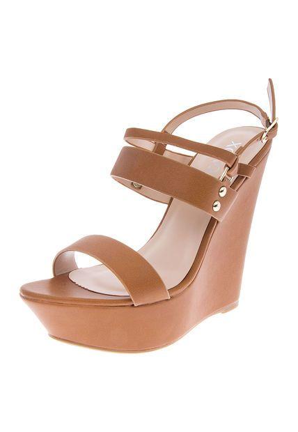 11d86a8e9c4 Sandalia Tacón Corrido XOXO Miel Oscuro | zapatos | Sandalias tacon ...