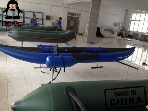 2 Person Inflatable Fishing Kayak Canoes With Extra Floating Air Tubes