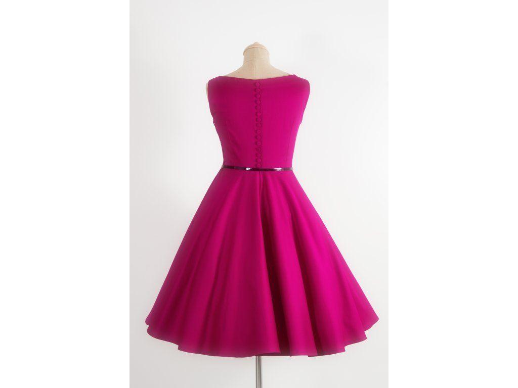 SUSAN vínové retro šaty. lodičkový výstřih knoflíčky na zadní straně kolová  sukně pásek s ozdobnou sponou délka sukně 60 cm ffdb6513bc