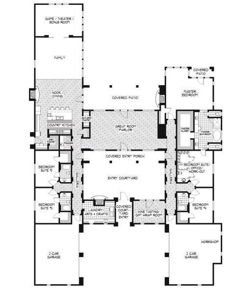 Floor Plan Unique House Plans Hacienda Style Homes Courtyard House Plans