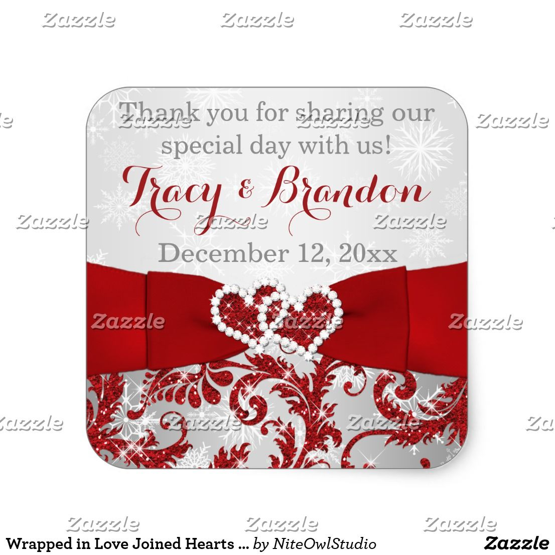 Wrapped in Love Joined Hearts Wedding Sticker 3 This elegant 1.5 ...