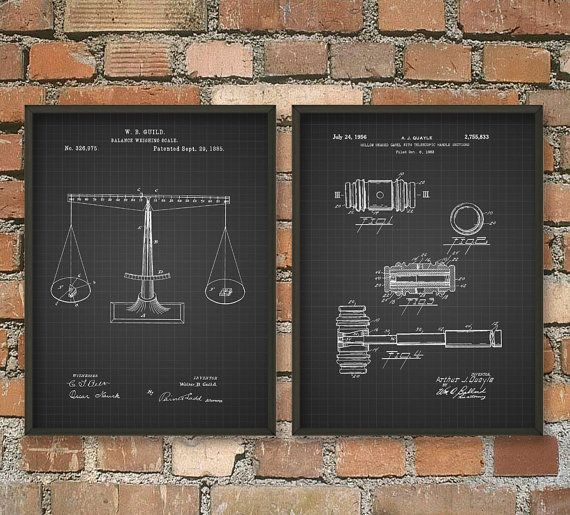 Law Student Lawyer Patent Wall Art Poster Set Poster Wall Art Patent Art Prints Wall Art