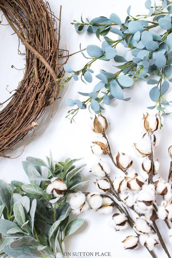 Photo of Fall Wreath Idea: Lamb's Ear & Cotton Bolls