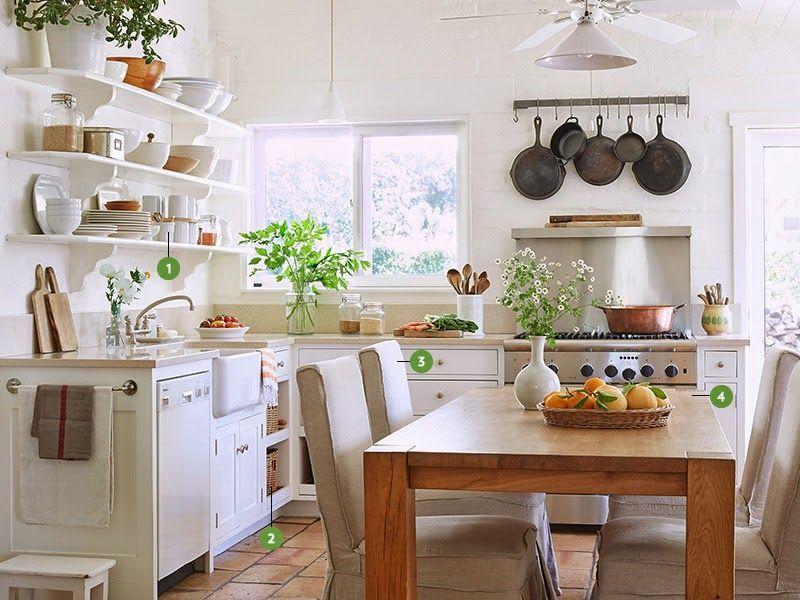 Una cocina blanca y llena de encanto desde my ventana empezando de nuevo pinterest - Cocinas con encanto ...