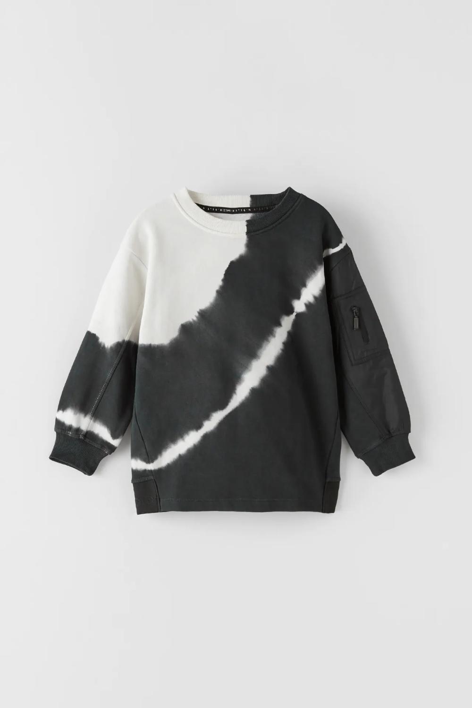 Tie Dye Athletic Sweatshirt Zara United States Sweatshirts Contrast Sleeve Sweatshirt Boy Outfits [ 1500 x 1000 Pixel ]