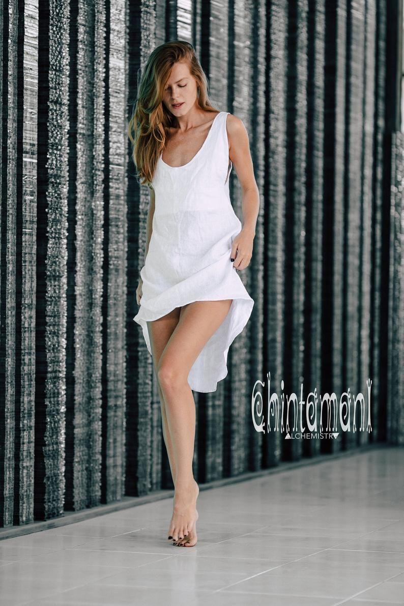 White Linen Dress Backless Beach Bohemian Dress Ibiza Etsy Bohemian Beach Dress Linen Dress White Dress Summer [ 1191 x 794 Pixel ]