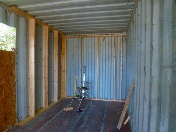 Build Shipping Container Home timber framing inside this shipping container building | container