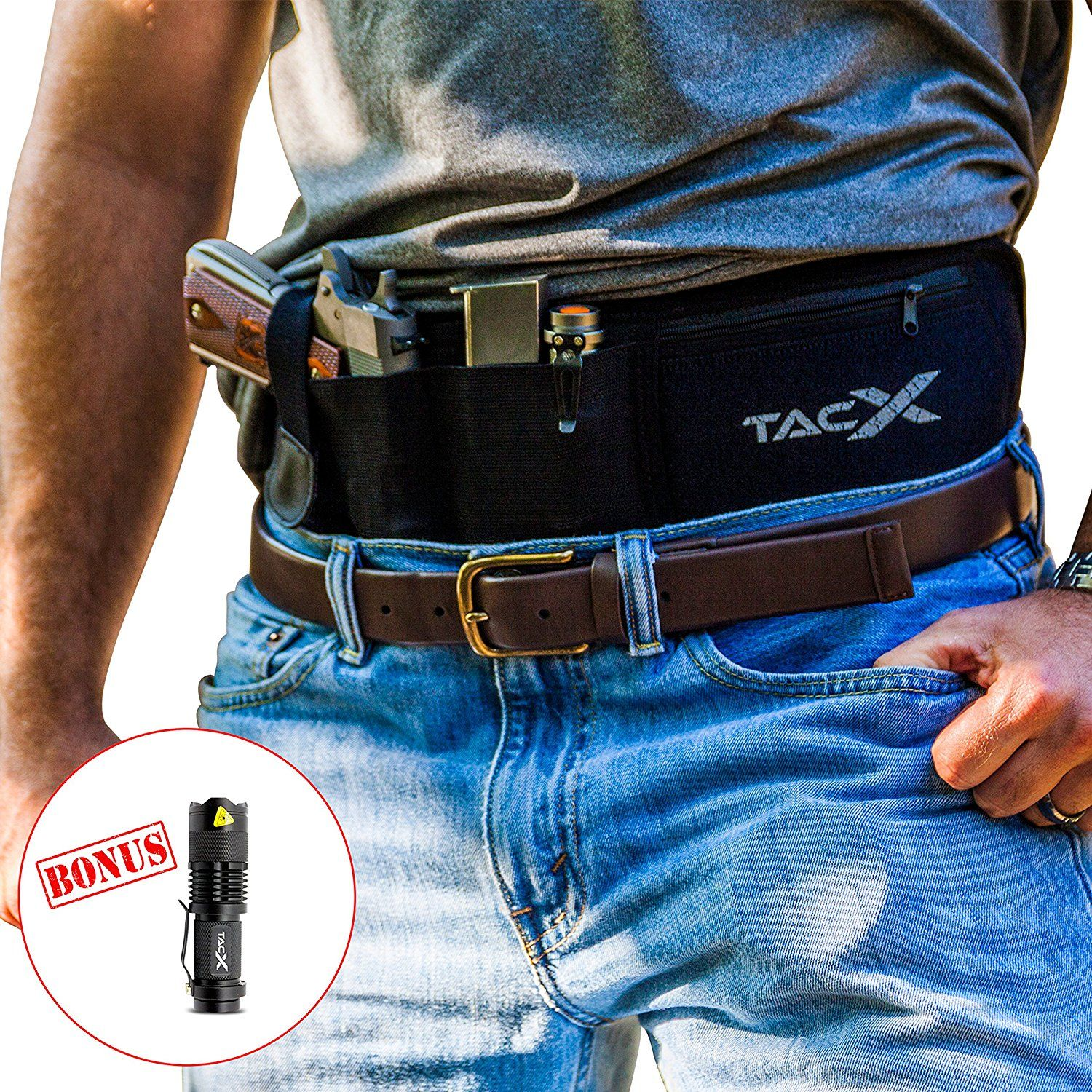 f07b92659dcc Belly Band Holster For Concealed Carry + Tactical LED Light   IWB OWB Waist  Band Handgun Carrying System   Adjustable Waist Hand Gun Holder For Pistols  ...