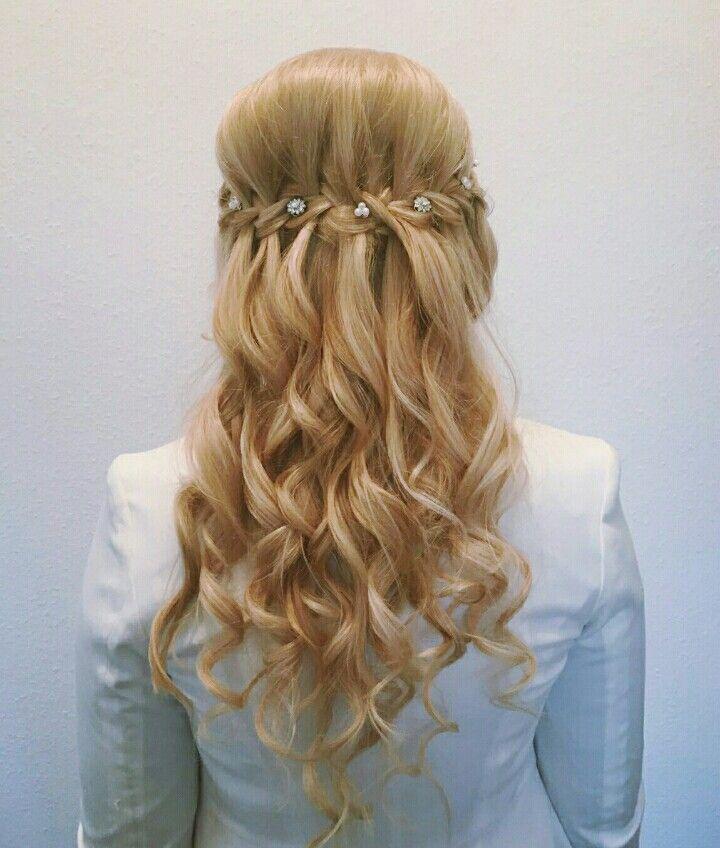 Next bride is ready :-)  #hairstyle #wedding #hair #waterfall #braid #curl #blonde