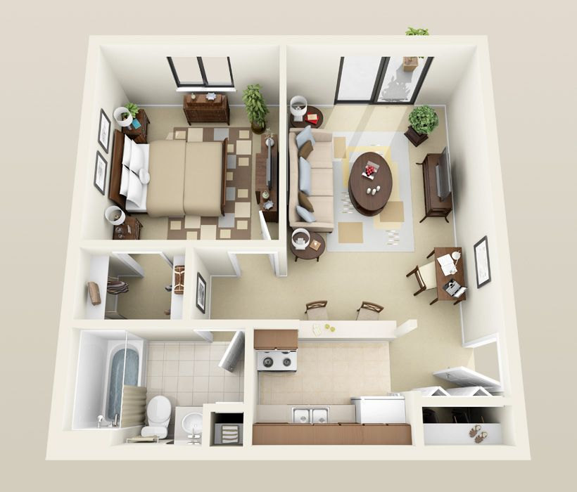 1 Bedroom Stanton 3d For Web Jpg 820 700 Apartment Furniture Layout Sims House Design Apartment Floor Plans