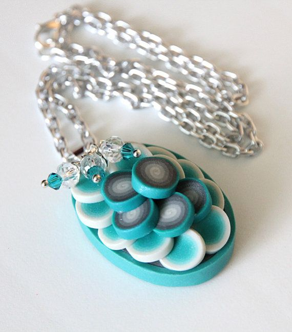 Aqua Swirl  Polymer Clay Pendant with crystal charms