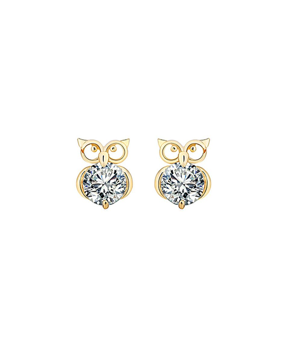 Take A Look At This Crystal Gold Owl Stud Earrings Today