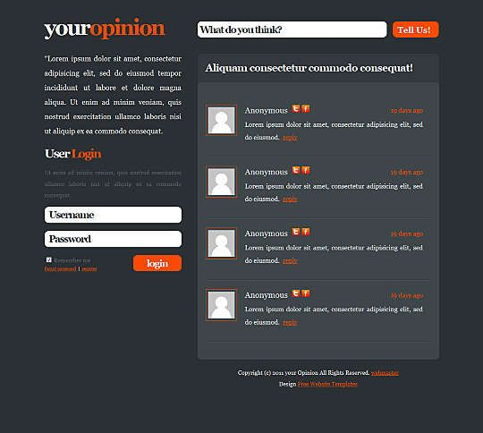 Your Opinion HTML Template #Blog #Css #Personal Link: https://goo.gl ...