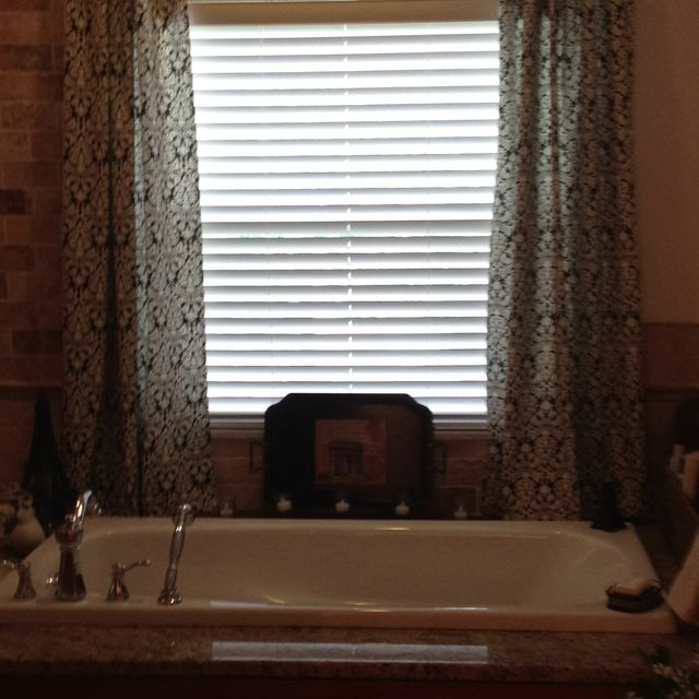 Black/white Panels Over Wood Blinds For Window Treatment Over Garden Tub.  Ring Clips