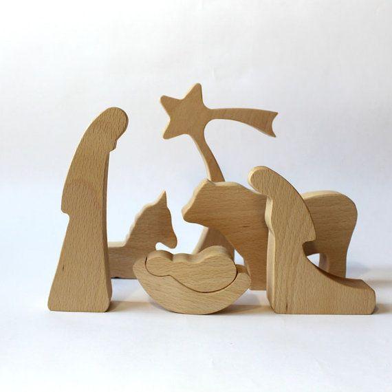 Natività in legno moderno - unto, legno Natività, Natività Set, presepe, presepe figure, Nativity Silhouette, figure in legno