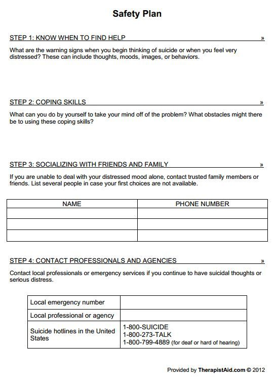 Safety Plan Worksheet Mental Health Worksheets Therapy