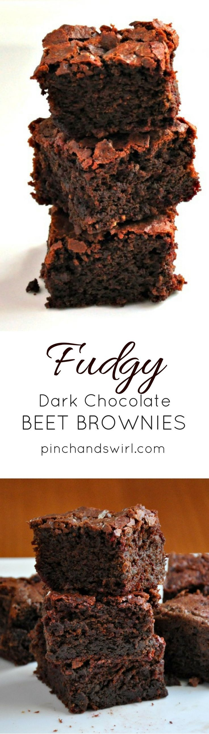 Fudgy Dark Chocolate Beet Brownies - you won't taste the beets, but they'll make the texture of your brownies heavenly! #chocolate #brownies #healthydesserts