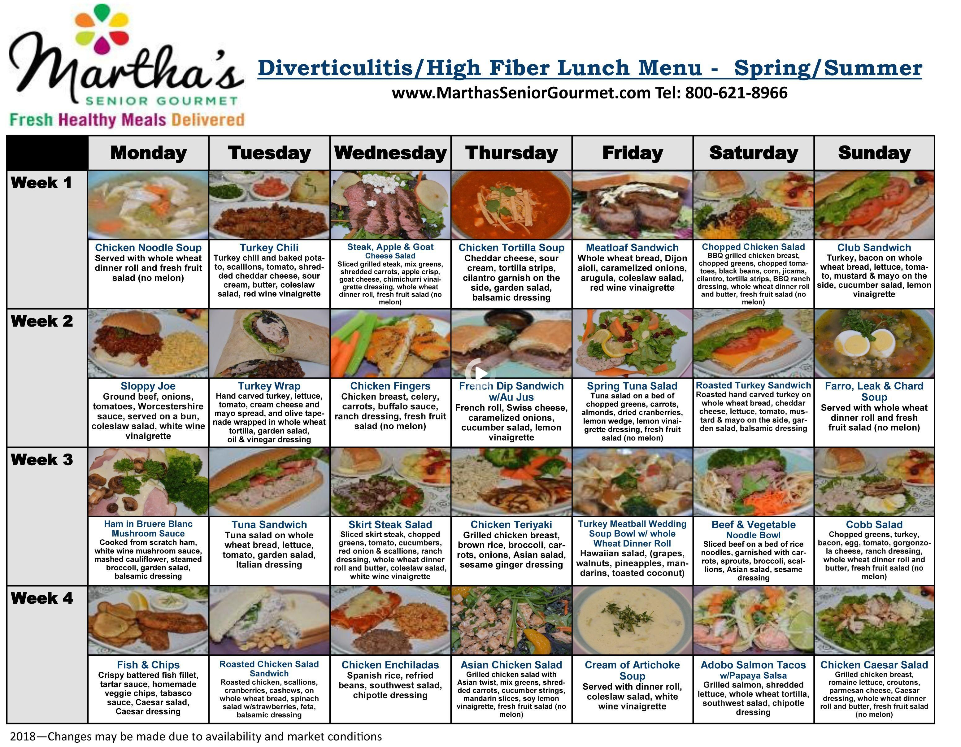Diverticulitis Menus In 2021 Healthy Meals Delivered High Fibre Lunches Healthy Recipes