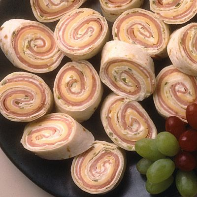Spiral Sandwiches (Ham and cheese or turkey, or pb and banana!) Great for on the go or showers.