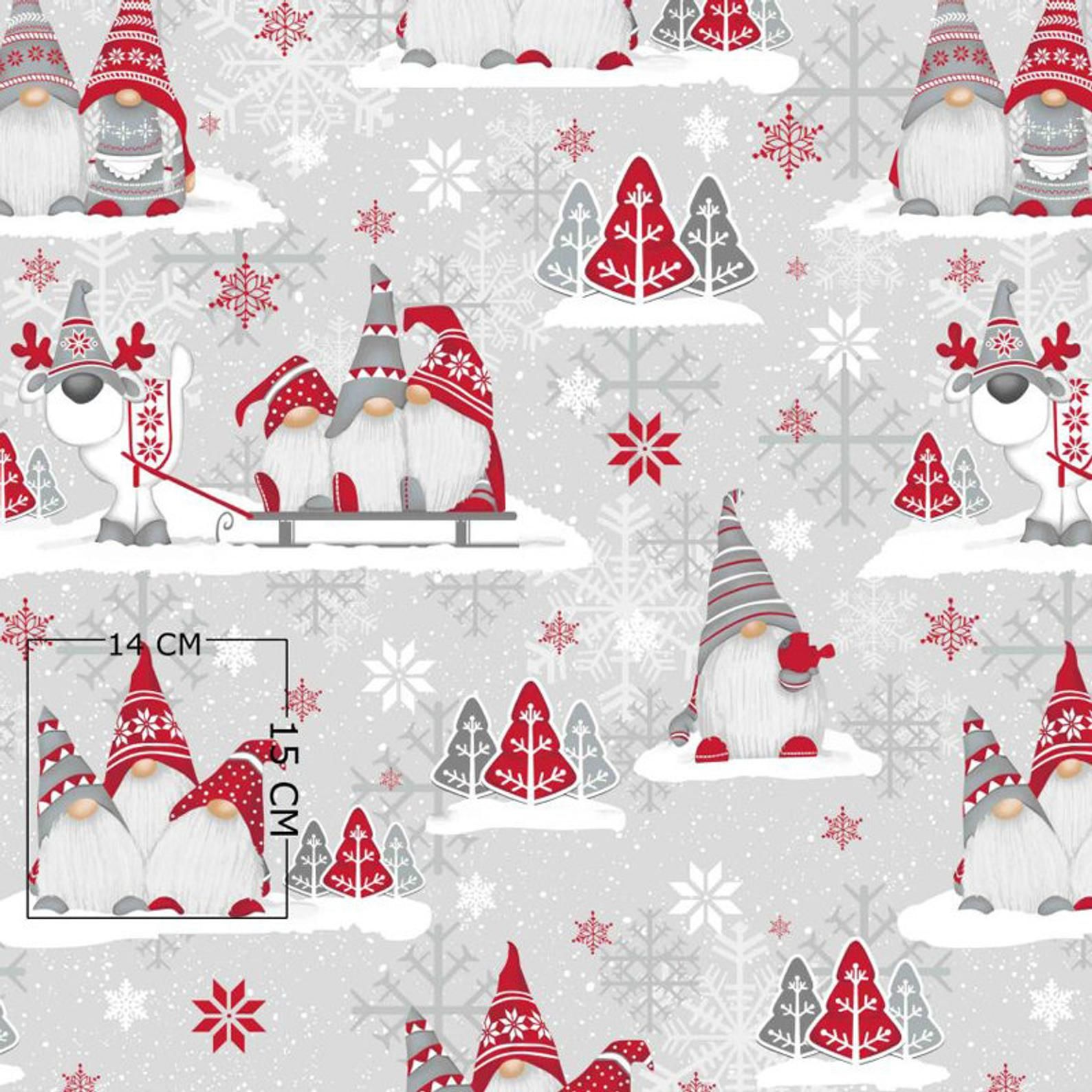Christmas gnomes elves cotton fabric, Winter fabric white