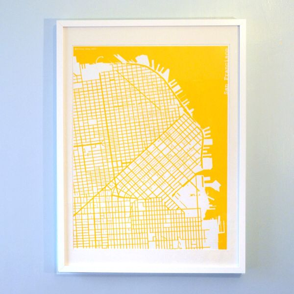 http://www.theharbingerco.com/product/yellow-silk-screen-printed-map-of-san-francisco