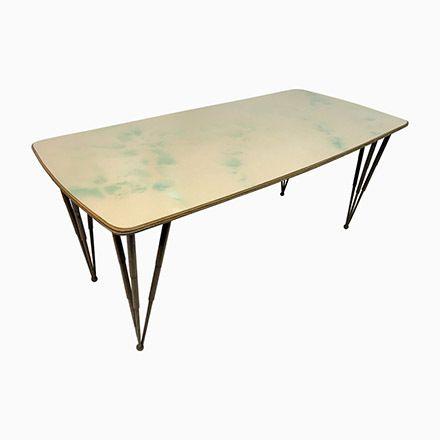 Italienischer Esstisch mit Glasplatte \ Metallbeinen, 1950er Jetzt - esszimmer italienisch
