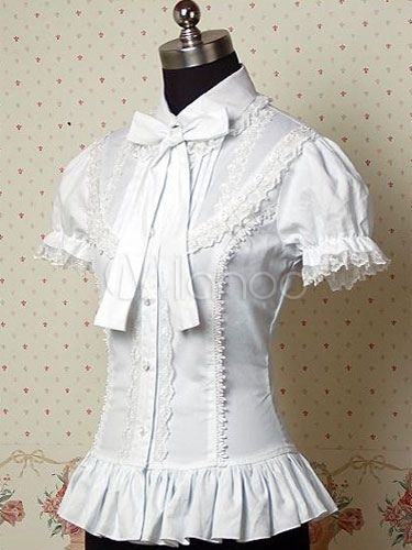 206ff674e7e White Ruffles Bows Cotton Lolita Blouse for Women in 2019 | Lolita ...