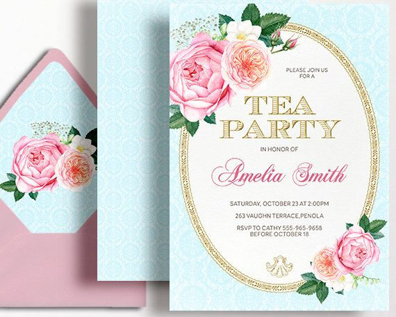 Tea Party Invitation High Tea Birthday Party Pink Gold Rose - tea party invitation