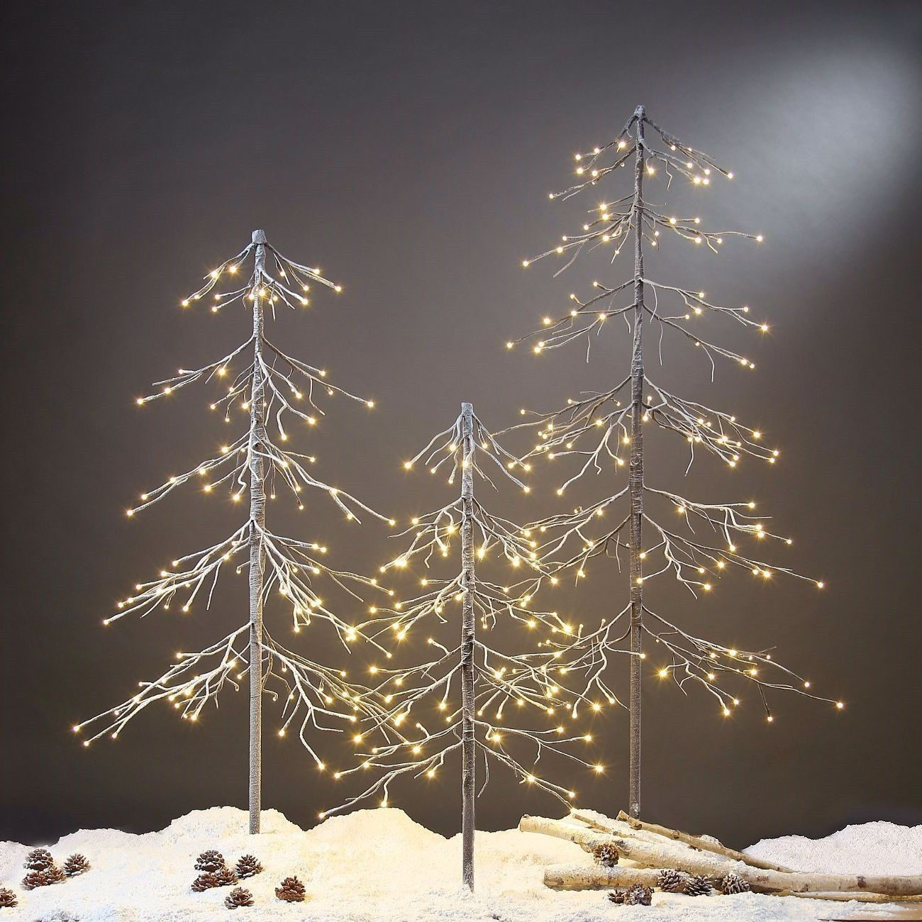 3-Ft Pre-Lit Snow Fir Christmas Tree Indoor Outdoor with LED Tree-Top Star