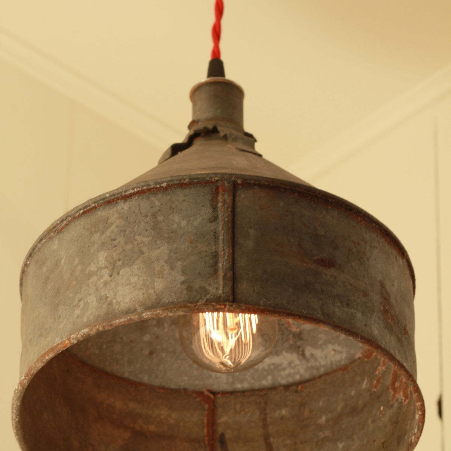 Reserved For Jacquidowd Rustic Lighting With Vintage Funnel Shade Pendant