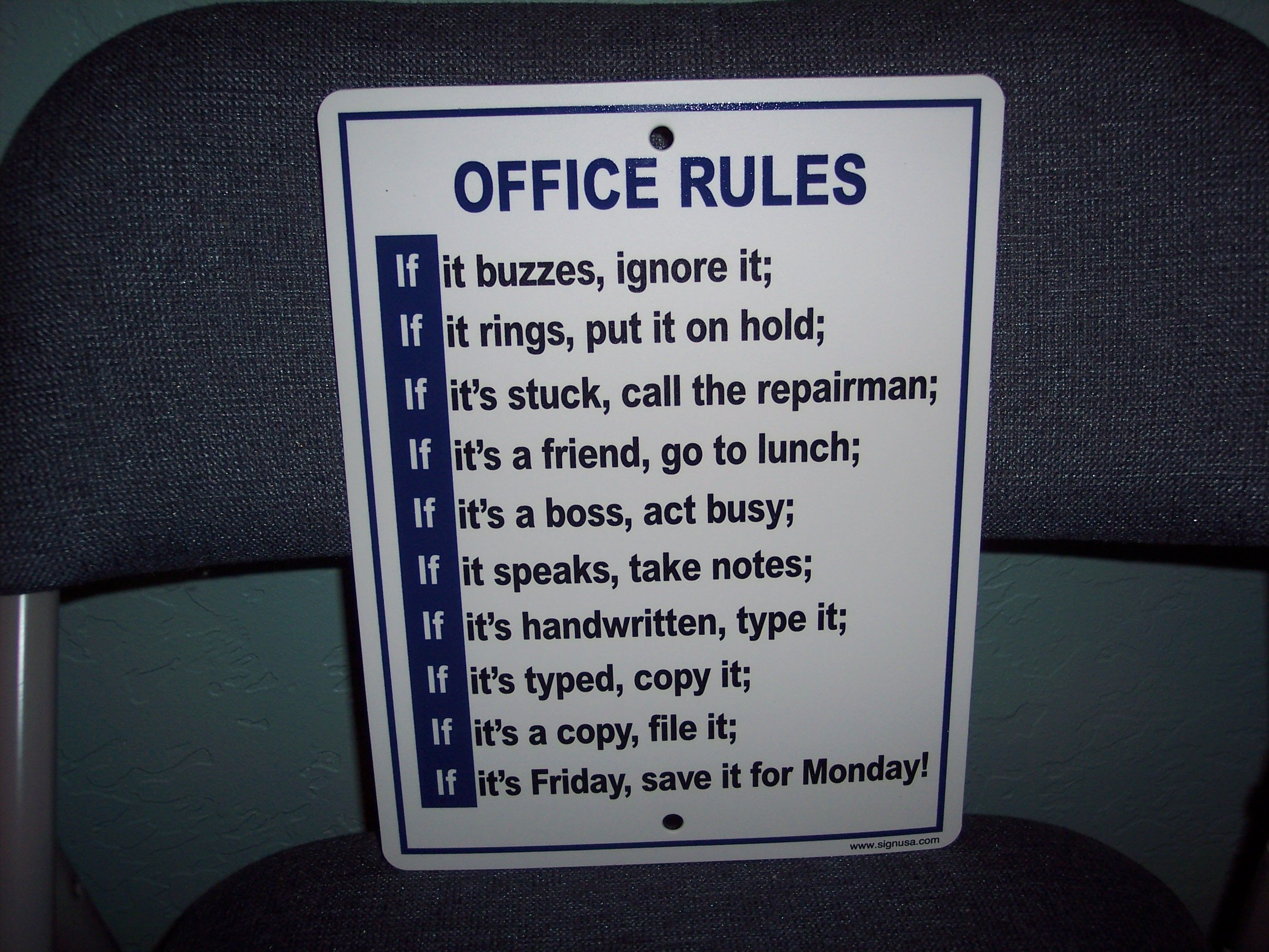. OFFICE RULES    HUMOR  BATHROOM  HUMOROUS  GARAGE MAN CAVE 8 5 x 11