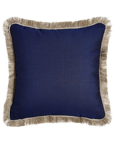 Fringed Navy Outdoor Pillow Pillows