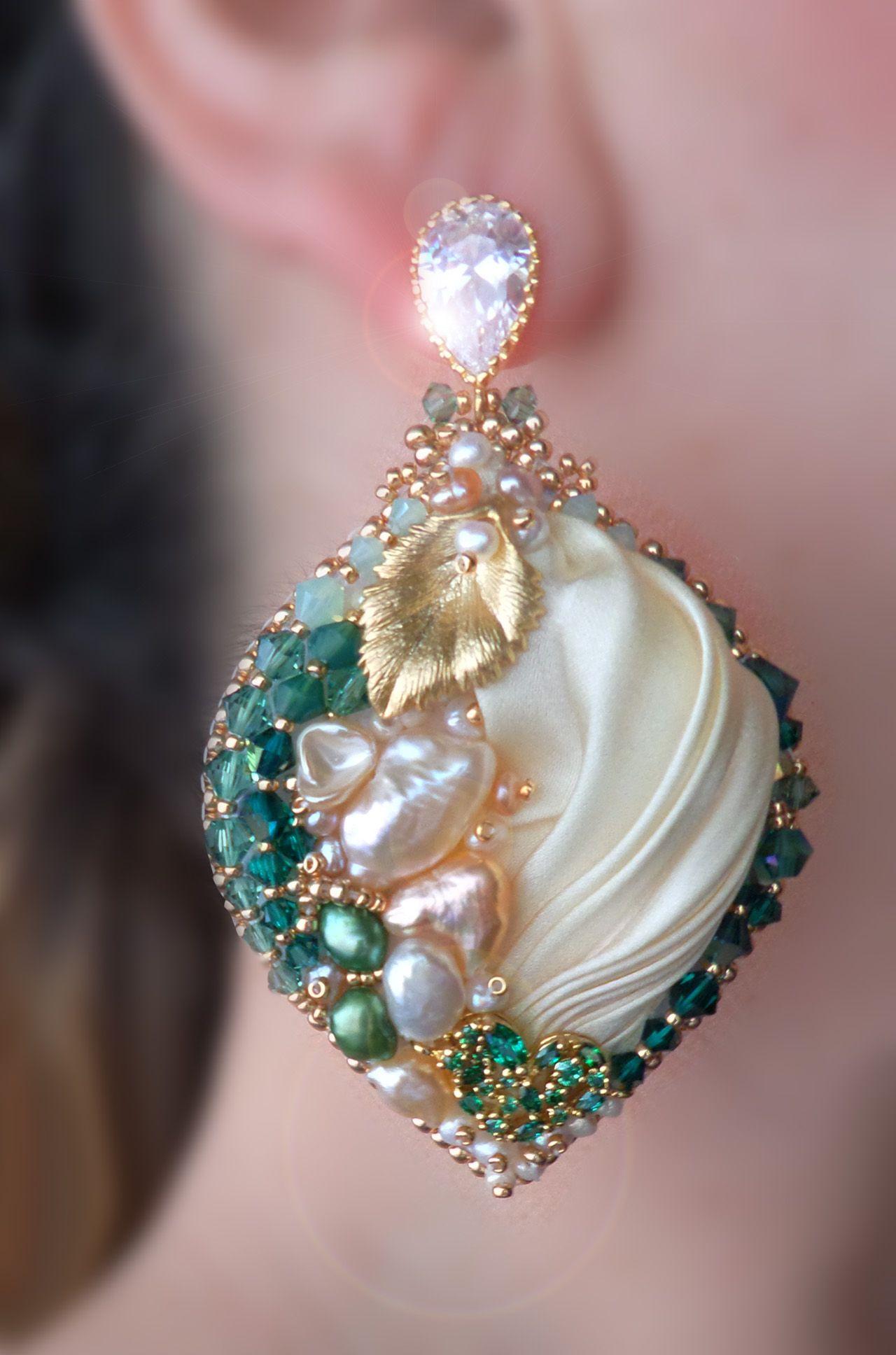 EARRINGS Design by Serena Di Mercione --- beadembroidery, shibori silk, swarovski