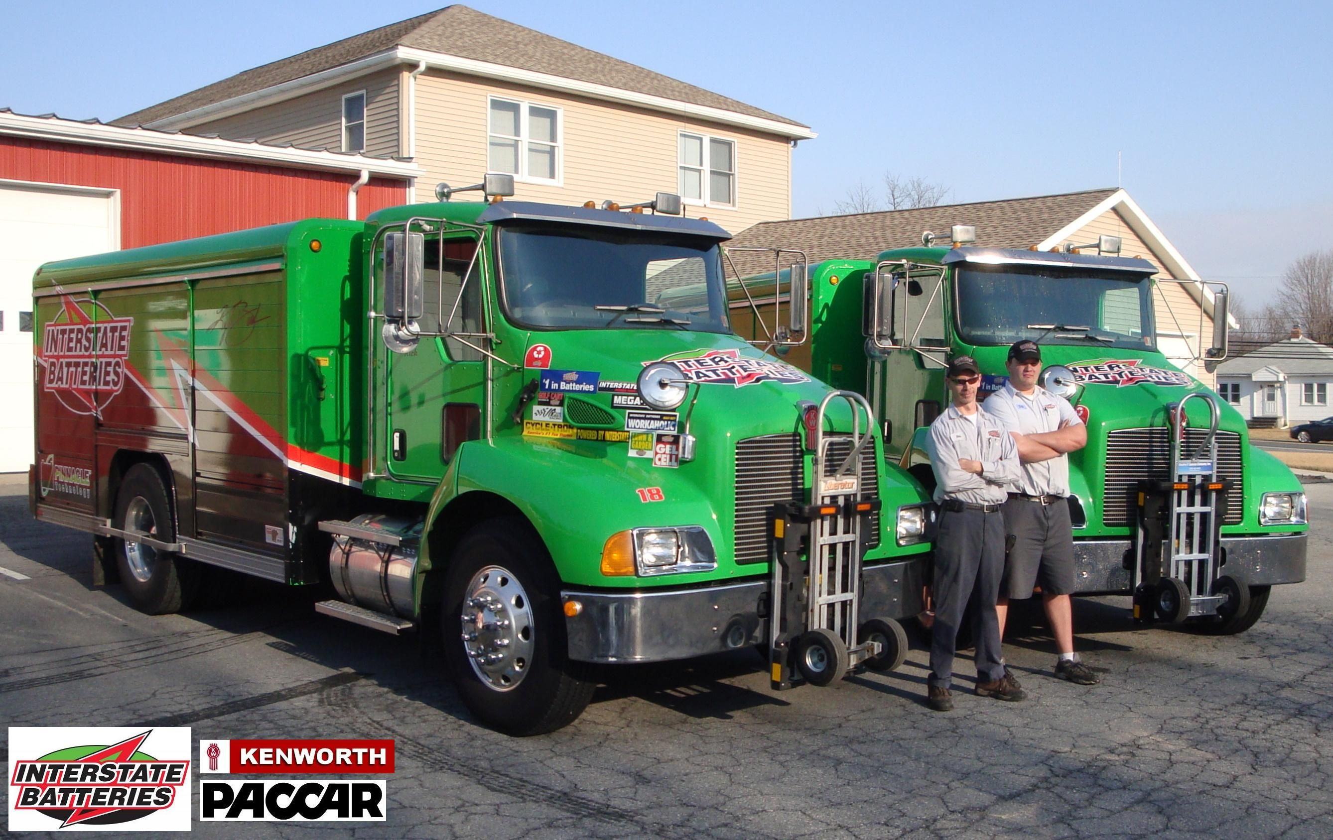 Interstate Batteries T300 Kenworth Delivery Trucks With Mickey Truck Body And Hts 10t Ultra Racks Trucks Kenworth Hand Trucks