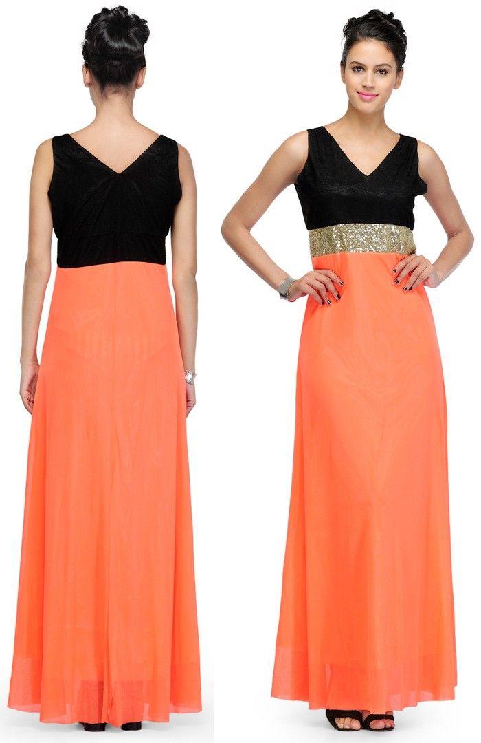 Peach Viscose #Readymade #Trendy #Dress | US$33 | Party Wear Dresses ...