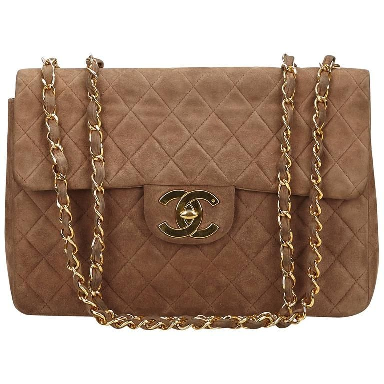287b16a09717c2 Chanel Brown Quilted Suede Maxi Shoulder Flap Bag | 1stdibs.com ...