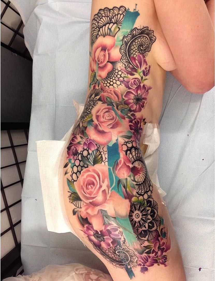 All tattoo design side tatoos - Pretty Floral Side Tattoo Http Tattooideas247 Com Pink Roses