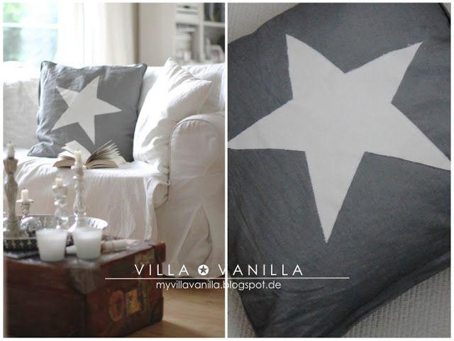 """Villa ✪ Vanilla: DIY """"Das Siebzehn-Minuten-Stern-Kissen"""""""