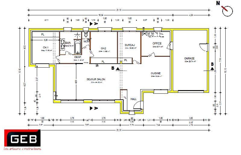 rsultat de recherche dimages pour plan maison plain pied 3 chambres - Plan Maison De Plain Pied 3 Chambres