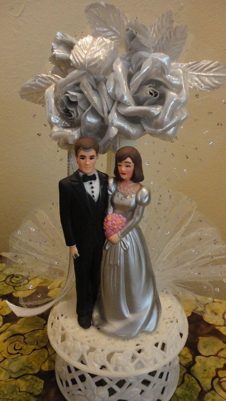 Vintage Silver Wedding Anniversary Cake Topper 1980's ...
