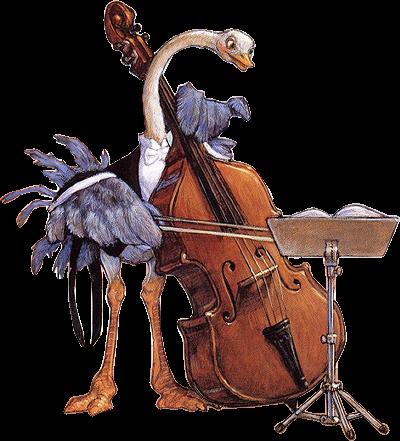 Autruche rigolote instrument musique peint cello art music et double bass - Autruche dessin ...
