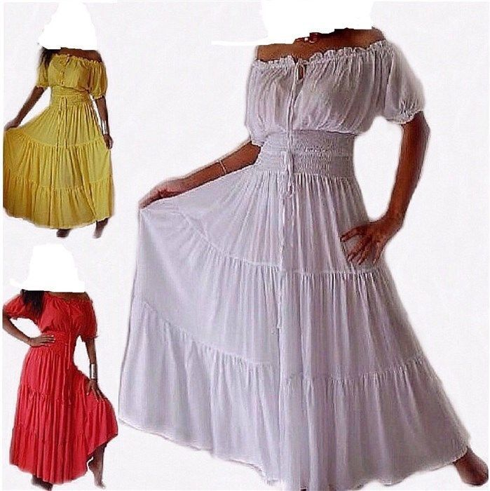 STYLISH Maxi Dress 100% Cotton Short Sleeves Cowgirl Mexican Tribal ...
