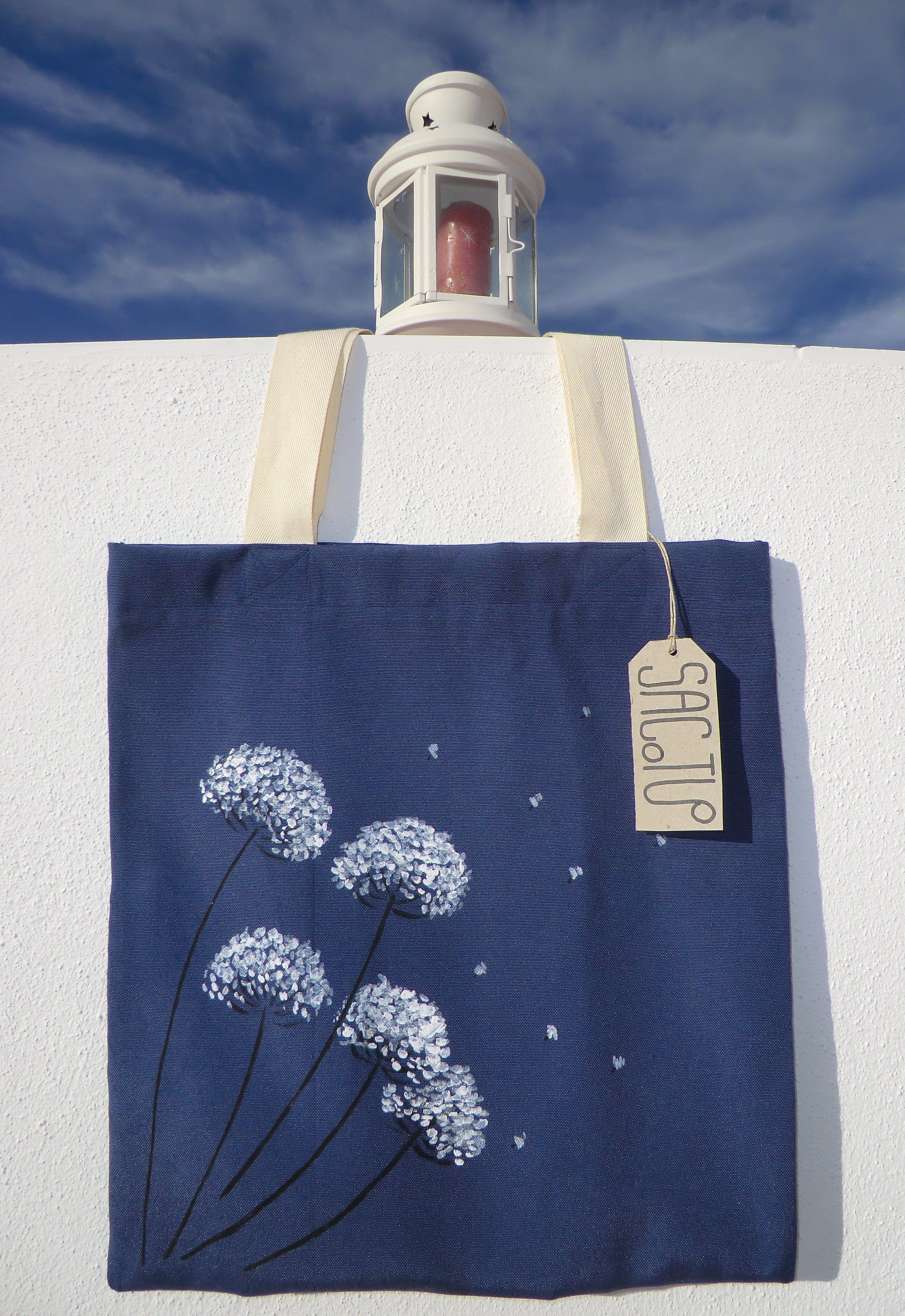 Bolsa en loneta azul y asa de algodón pintada a mano