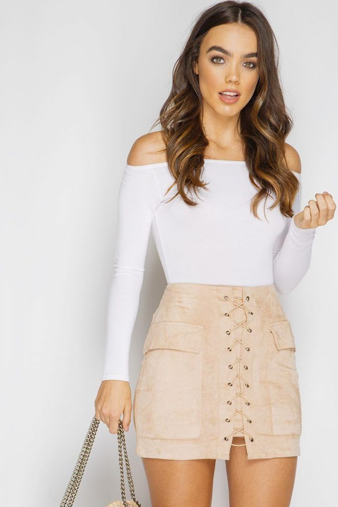 3f0387bfbe5  Summer  Outfits   Off the Shoulder Long Sleeves White Top + Beige A-Line  Skirt