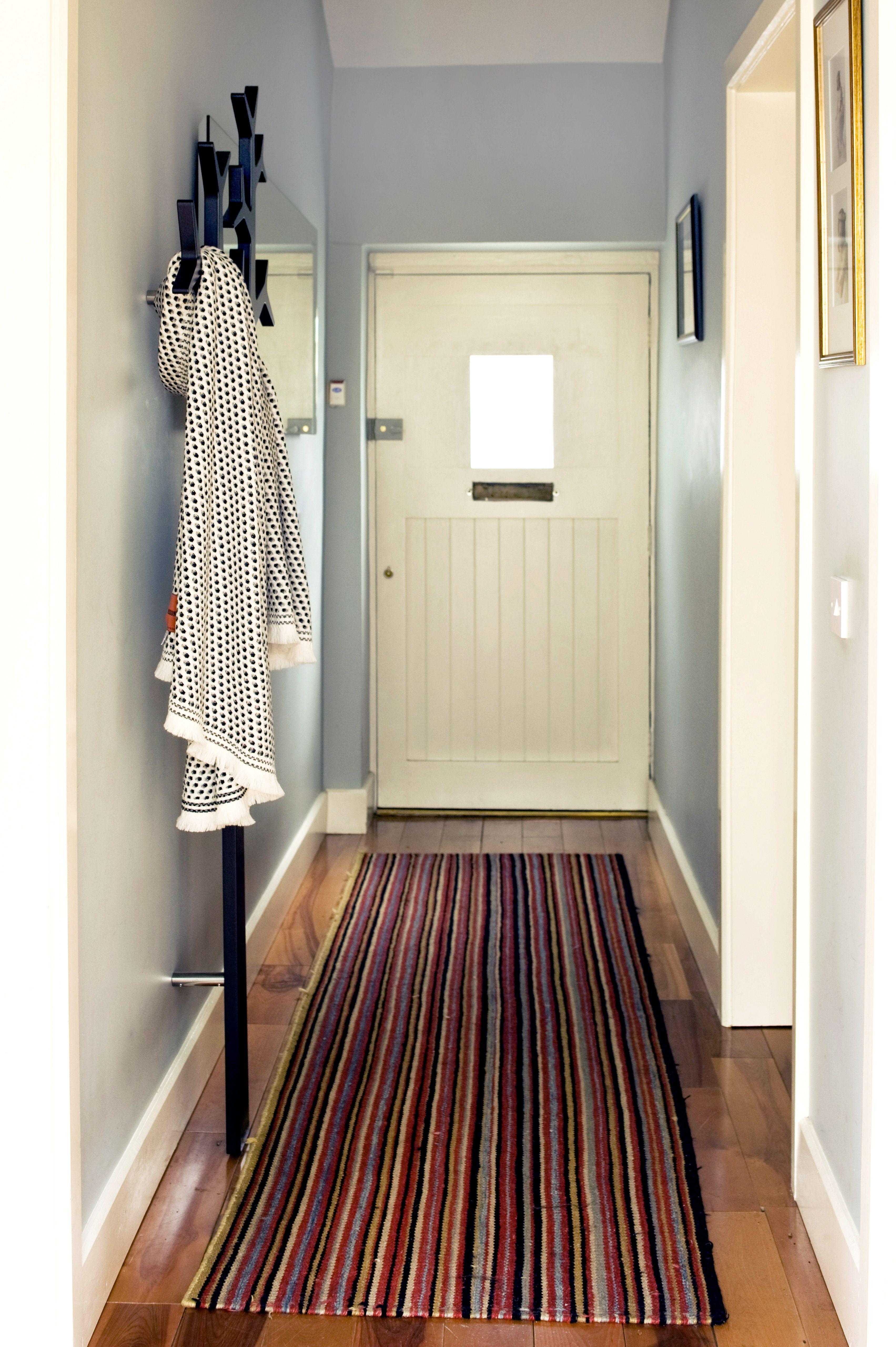 Residential entrance hallway carpet runner soft blue tree coast hanger cottage - Coat rack for small spaces design ...