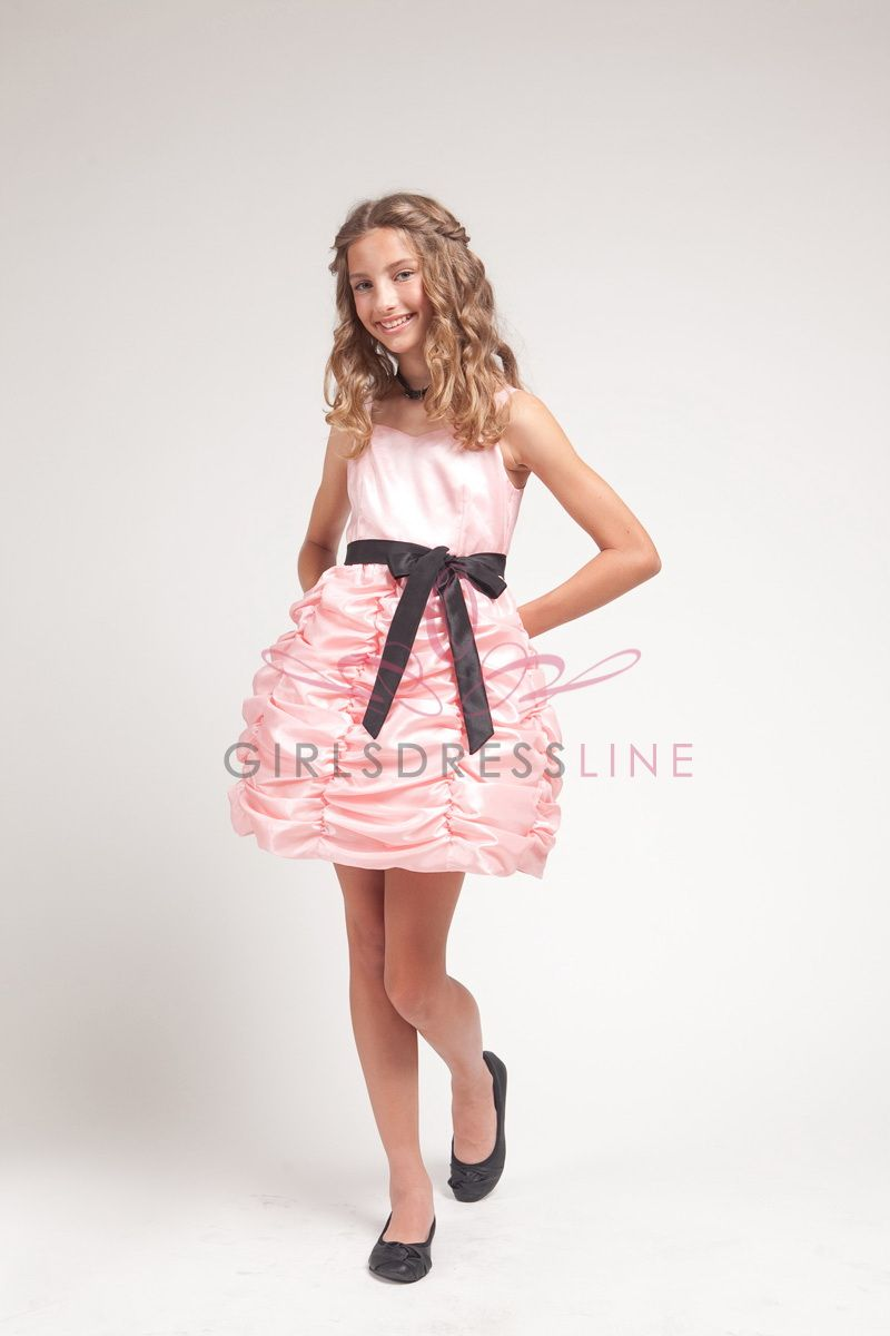 Pink taffeta sweetheart neckline gathered bubbled hem short girl