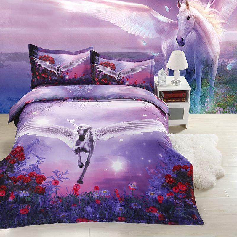 Unicorn Bedspreads 3d Unicorn Print Bedding Sets Purple